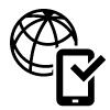 Icon eines Smartphones vor einer Weltkugel.