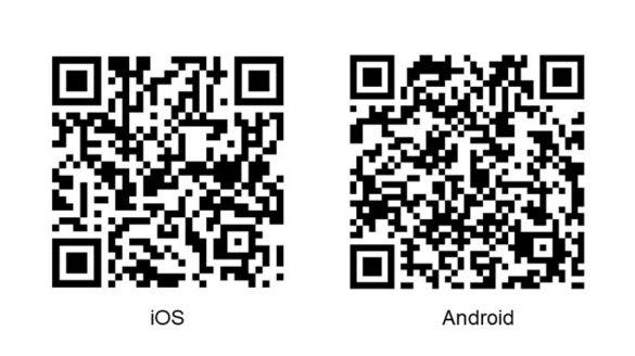 QR-Codes zum Download der BMW BKK-App für iOS und Android.