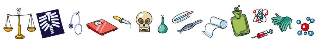 Illustration 15 verschiedener Gegenstände, wie Handschuhe, Waage, Totenkopf oder Röntgenbild.