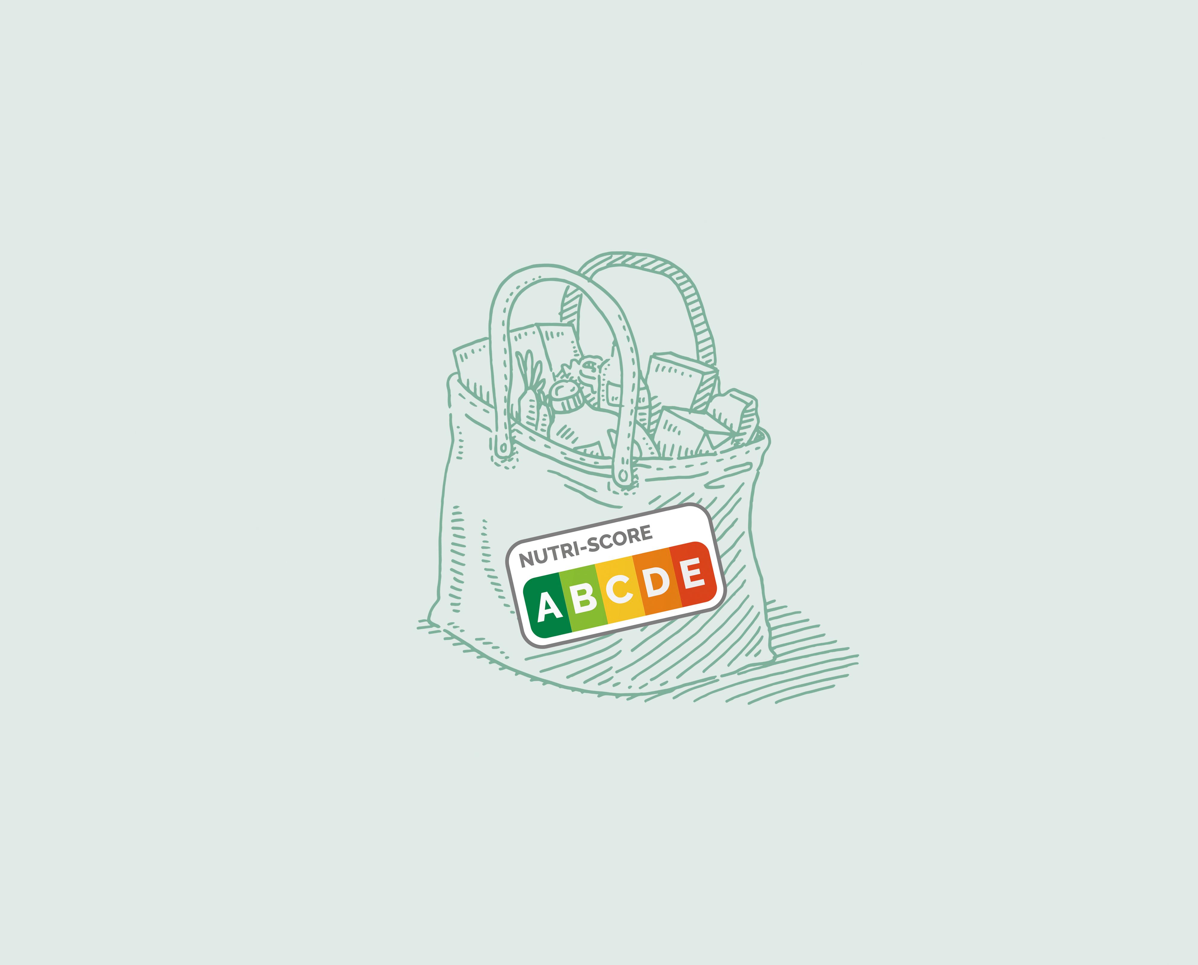 Illustration einer gefüllten Einkaufstüte, auf ihr der Nutriscore.