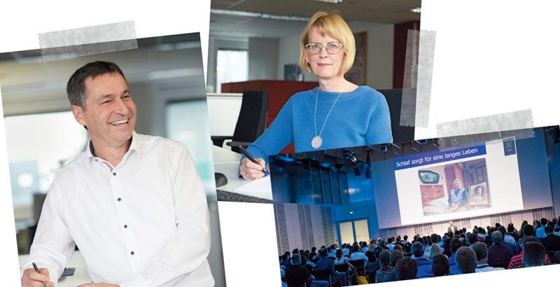 Collage von zwei Mitarbeiterfotos und der Aufnahme einer Veranstaltung mit Vortrag zum Thema Schlaf.