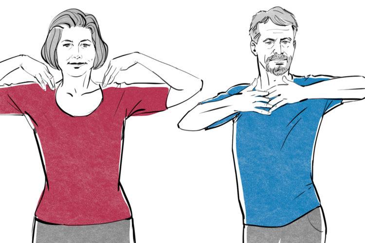Illustration einer Frau und eines Mann, die ihre Arme dehnen.