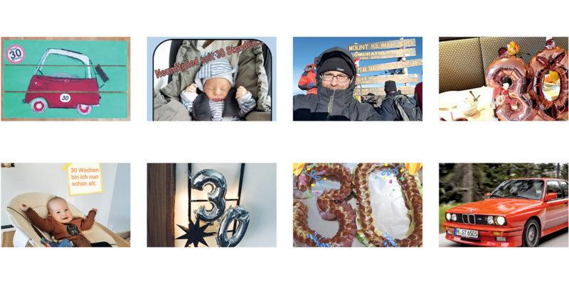Bildreihe mit Fotos, die Versicherte zum 30. Geburtstag der BMW BKK eingesendet haben.