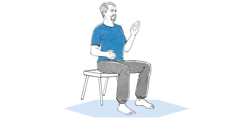 Illustration eines Mann, der mit geradem Rücken auf einem Stuhl sitzt und den linken Arm angewinkelt hebt.