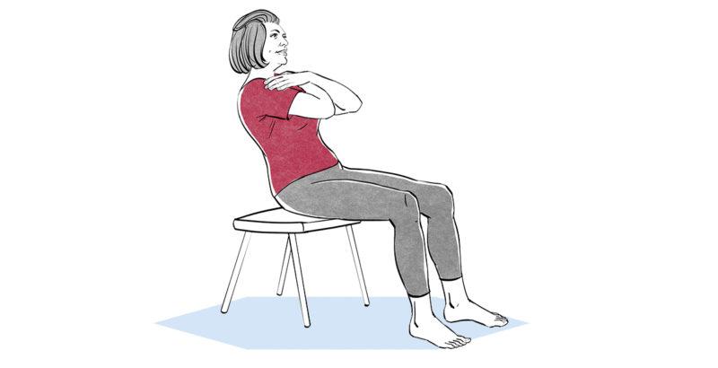 Illustration einer Frau, die auf einem Stuhl sitzt und ihre Bauchmuskeln trainiert.
