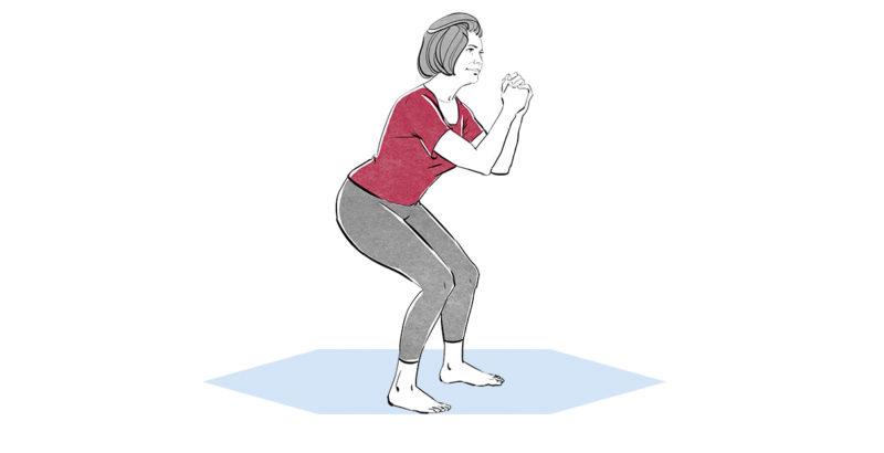 Illustration einer Frau, die eine Kniebeuge macht.