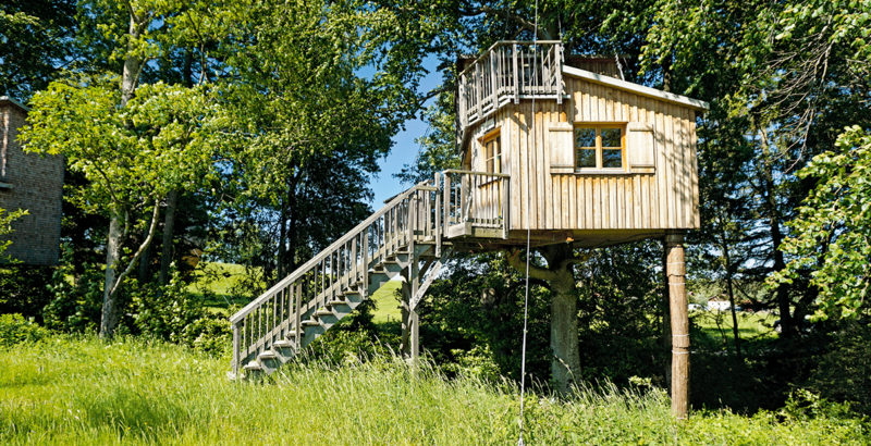 Eine Holzhütte auf Stelzen, umgeben von Bäumen.