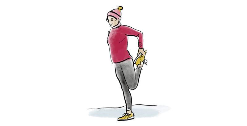 Illustration einer Frau, die ihre Beine dehnt.