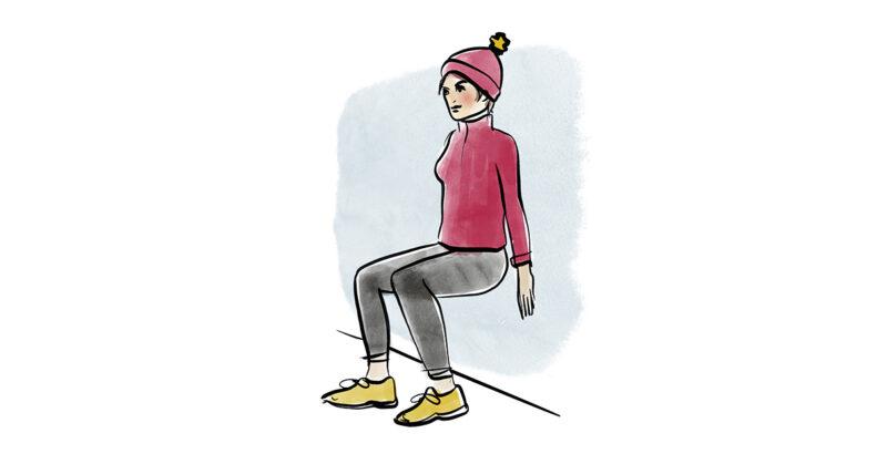 Illustration einer Frau, die an einer Wand in der Luft sitzt.