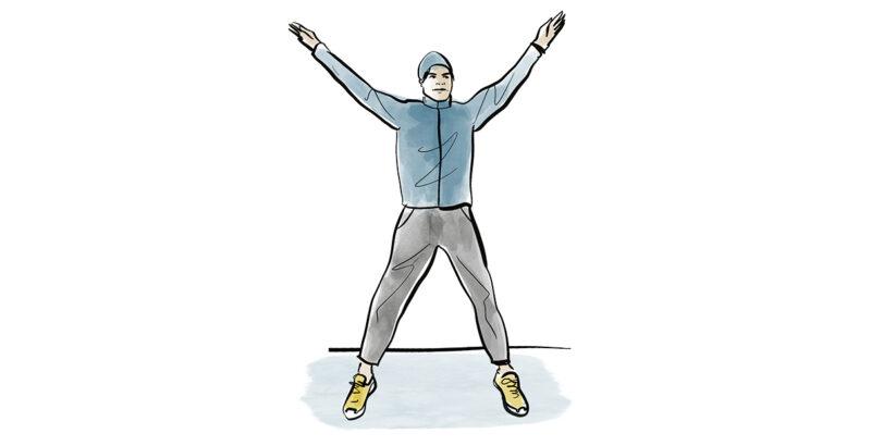 Illustration eines Mannes, der Hampelmänner ausführt.