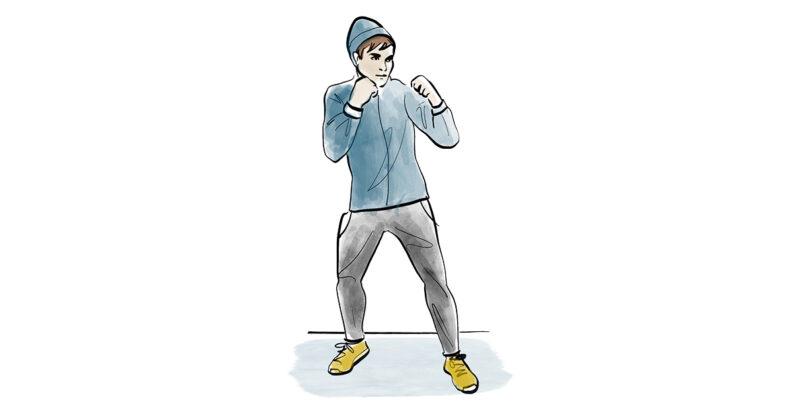 Illustration eines Mannes beim Schattenboxen.