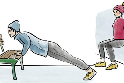 Illustration einer Frau und eines Mannes, die an einer Parkbank Sport machen.