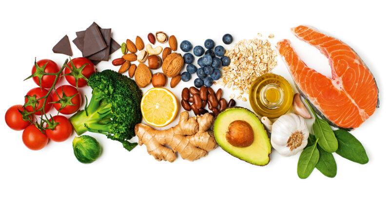Auswahl gesunder Lebensmittel.