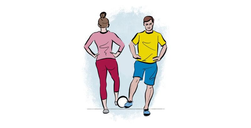 Illustration von Mutter und Vater, die gemeinsam einen Ball mit je einem Fuß in die Luft heben.