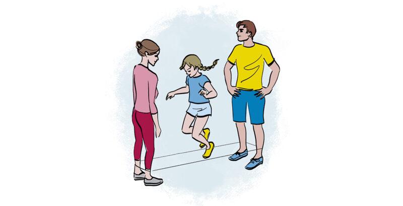 Illustration der Familie beim Gummitwist.