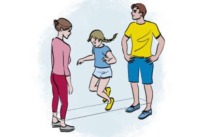 Illustration von Mutter, Vater und Tochter beim Gummitwist.