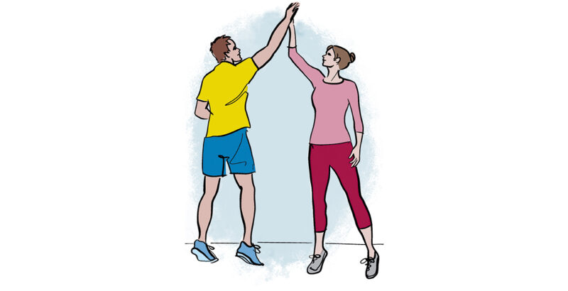Illustration von Mutter und Vater beim High Five.
