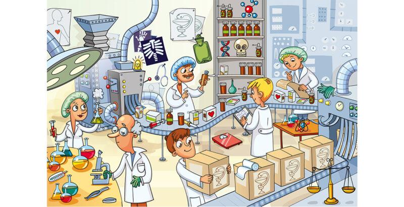 Wimmelbild eines Labors.