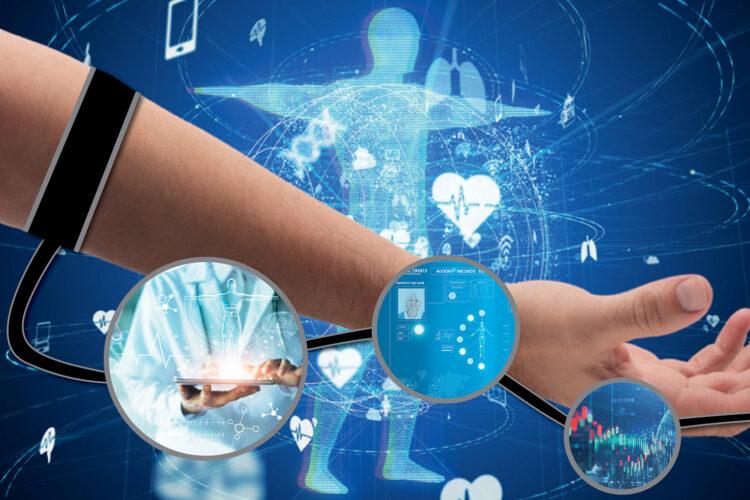 Bildmontage: Ein Arm vor blauem Hintergrund, auf dem sich ein menschlicher Umriss, Smartphones und Herzen bewegen.