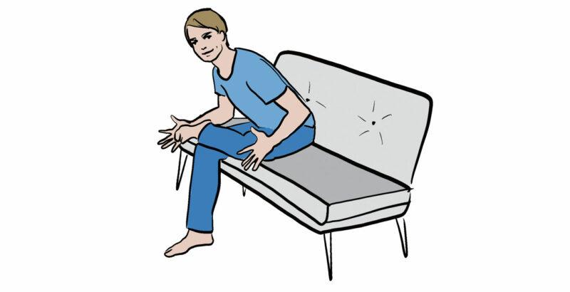 Illustration eines Mannes, der auf dem Sofa sitzt und ein Bein über das andere legt.