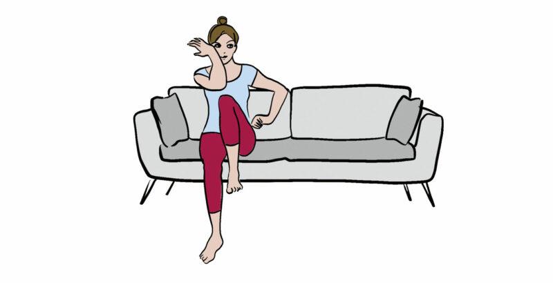 Ilustration einer Frau, die auf dem Sofa sitzt und dabei Ellbogen und Knie zusammenbringt.