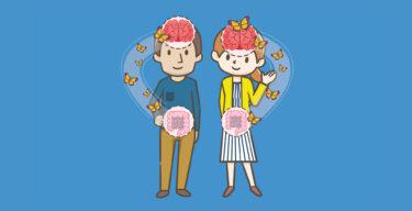 Illustration einer Frau und eines Mannes, die Verbindung zwischen Darm und Gehirn wird mit Schmetterlingen gekennzeichnet.